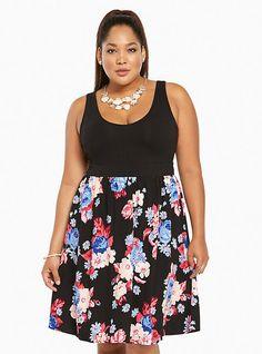 Plus Size Floral Strap Back Tank Dress, SWEET GARDENS
