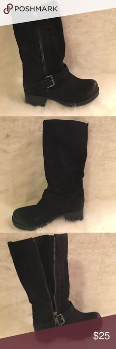 Black White Mountain Moto Boots Black distressed faux leather boots. Outer side nickel-finish zippers and buckles. Lightweight boots. Worn a time or two. White Mountain Shoes Combat & Moto Boots