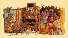 Crazy absurd illustration for cool entertaiment app! by AcaZigot