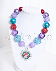 Ariel, Little Mermaid Necklace, Disney Kids Necklace, Chunky Necklace, Chunky Bead Necklace, Child Girls Necklace