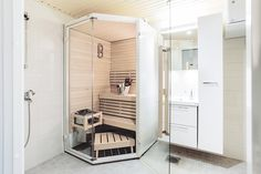 The glass surface, white interior and warm natural wood of the sauna together creates a harmonic design in to this bathroom. Spa Interior, Arch Interior, Sauna Design, Sauna Room, Luxury Spa, Comfort Zone, Bathroom Inspiration, Natural Wood, Surface