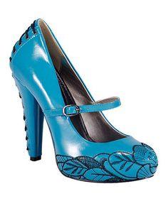 Look at this #zulilyfind! T.U.K. Turquoise Floral Stitch Lace-Up Pump by T.U.K. #zulilyfinds