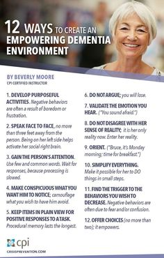 12 Ways to Create an Empowering Dementia Environment www.crisisprevention.com/