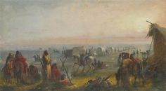 Alfred Jacob Miller - Departure of the Caravan at Sunrise; Medium: Oil, ink, pencil and watercolor on paper kp