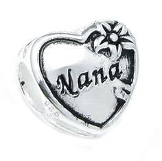 Sterling Silver Great Grandma Nana Heart Flower Family Love Bead for European Charm Bracelets >>> You can get more details by clicking on the image.(This is an Amazon affiliate link and I receive a commission for the sales)