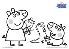 Printable Peppa Pig Coloring Pages. Have a Joy with Peppa Pig Coloring Pages. Do your children like to color pictures? If they do, the Peppa pig coloring pages Peppa Pig Coloring Pages, Family Coloring Pages, Cartoon Coloring Pages, Coloring Book Pages, Coloring Pages For Kids, Peppa Pig Familie, Peppa Pig Pictures, Peppa Pig Y George, George Pig