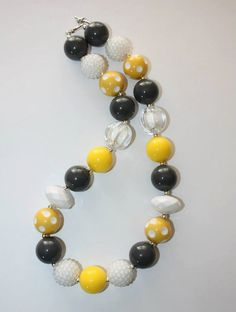 """20"""" Bubble Gum Bead Necklace- Grey, White and Yellow"""