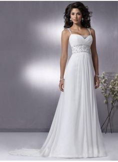 Charming A-Line/Princess Regular straps Chapel Train Chiffon Charmeuse Wedding Dress With Ruffle Beadwork (002004113)-JJs House ($130)