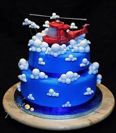 Eurostar or The Plane? Helicopter Cake, Helicopter Birthday, Beautiful Cakes, Amazing Cakes, Diva Cakes, Doughnut Cake, Cake Tasting, Novelty Cakes, Cake Creations