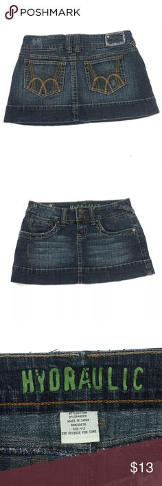 """HYDRAULIC Denim Skirt Waist 13.5 Length 10.5""""  Size 1/2 Only Worn Once..In Excellent Condition Hydraulic Skirts"""