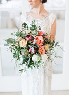Wedding Bouquets - This clean and classic wedding inspiration shoot at Steigenberger Grandhotel Petersberg in Germany combines elegant details with beautiful flowers and a soft color palette. Protea Bouquet, Protea Flower, Peonies Bouquet, Protea Wedding, Floral Wedding, Wedding Bouquets, Wedding Veils, Wedding Hair, Cornrows