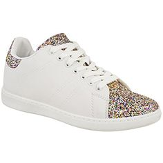 Fashion Thirsty Womens Flat Lace Up Glitter Sparkly Sneakers Trainers  Plimsolls Shoes Size 7    c1db5a07e41