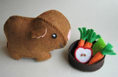 Guinea pig with food bowl felt play set stuffed plush animal toy - brown. $14.00, via Etsy.