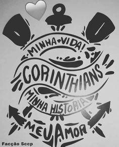 Imagem relacionada Tattoo Corinthians, Corinthians Time, Time Tattoos, Tatoos, Sports Clubs, Black And White Design, Blackwork, Lettering, Logos