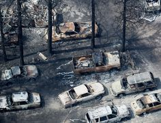 Image: An aerial view of burned vehicles in the aftermath of the Black Forest Fire in Colorado on June 13 (© Rick Wilking / Reuters) Story Inspiration, Writing Inspiration, Karma, Lone Wanderer, The 5th Wave, Wild Fire, Neutral, Post Apocalypse, Apocalypse Aesthetic