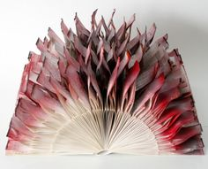 "Items similar to Book Art Sculpture ""Red Flower"" on Etsy Paper Book, Paper Art, Paper Crafts, Kirigami, Old Book Crafts, Altered Book Art, Red Flowers, Paper Embroidery, Book Folding"