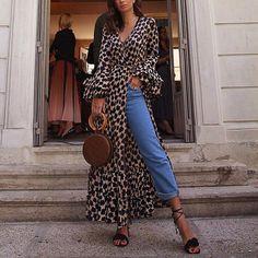 e9a606f8133e Fashion Long Sleeves Leopard Print T-Shirt Maxi Dress · Dámska MódaJesenná  ...