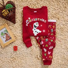 2016 Autumn Winter Kids Boys Girls Clothes Christmas Costume Cotton Long Sleeve Snowman Chirstmas Kids Clothing Outfit Set(China (Mainland))