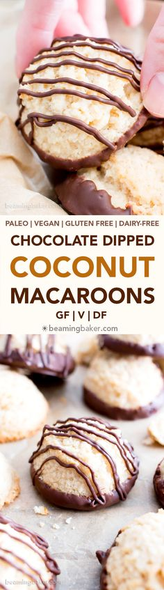 Chocolate Dipped Vegan Coconut Macaroons Recipe (V, GF): an easy recipe for chewy and satisfying chocolate-dipped coconut macaroons made with whole ingredients! #Vegan #Paleo #GlutenFree #DairyFree #Cookies #Coconut #Macaroons #Dessert | Recipe on BeamingBaker.com