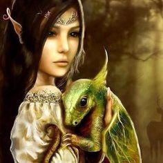 dragon and elf - from my fantasy and LOTR Board. This is Etele as a child with his pet dragon, from my Secret Agent Elve Verse Elfa, Magical Creatures, Fantasy Creatures, Fantasy World, Fantasy Art, Fantasy Wesen, Elves And Fairies, Dragon Pictures, Witches