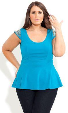 730969d96df City Chic - BEADED SHOULDER PEPLUM TOP - Women s plus size fashion Big  Fashion