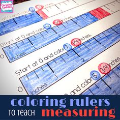 Teach Think Elementary: coloring rulers to teach measuring to the quarter inch (blog post)