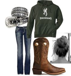"""workin on the ranch"" by mariahlang ❤ liked on Polyvore"