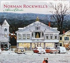 Norman Rockwell advent calendar, with the cover featuring part of his famous painting of Christmas along Main Street in his adopted hometown of Stockbridge, Massachusetts. Christmas Carol Book, Christmas Art, Vintage Christmas, Christmas Landscape, Christmas Scenes, Winter Christmas, Norman Rockwell Prints, Norman Rockwell Paintings, Peintures Norman Rockwell