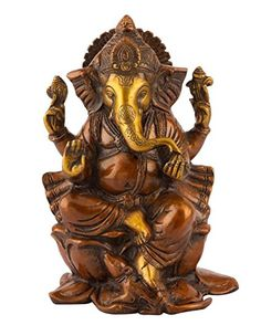 Collectible India Large Ganesh Idol Bronze Hindu Lord Elephant God Brass Sculpture Ganesha Statue Home Decoe Gifts