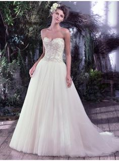 Tülle Perlenstickerei Schnürung Brautkleider 2017