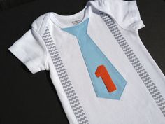 Birthday Chevron Baby Boy Tie Onesie or T-shirt with suspenders-  First Birthday Boy Outfit. $16.00, via Etsy.