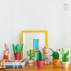 Paper Cactus Na Casa da Joana - 5 modelos coloridos e divertidos de cactos de papel. :) Uma ótima opção para a decoração :: www.nacasadajoana.com.br Paper Cactus, Bio Art, Poster S, Art Decor, Home Decor, Planter Pots, Mexico, Instagram Posts, Inspiration