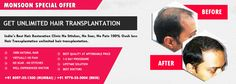 India's Best Hair Restoration Clinic No Stitches, No Scar, No Pain 100% Ouch less Hair Transplantation unlimited hair transplantation