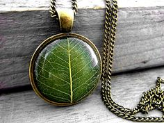Real Leaf Necklace - Real leaf in resin. Bronze setting and long necklace. Nature jewelry for her.