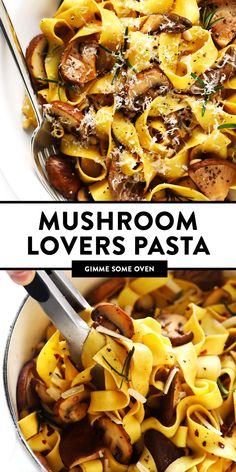 Mushroom Lovers Pasta recipe is tossed with a heavenly rosemary balsamic butter sauce lots of Parmesan cheese pine nuts and whatever kinds of mushrooms you love. Veggie Recipes, New Recipes, Dinner Recipes, Cooking Recipes, Healthy Recipes, Vegetarian Recipes With Mushrooms, Easy Cooking, Meals With Mushrooms, Risotto