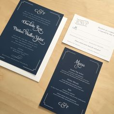 Custom Navy and Silver Wedding Invitation Suite
