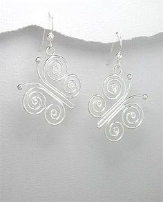 Swirled Sterling Silver Wire Butterfly Dangle Earrings