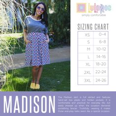 Madison size chart https://www.facebook.com/groups/lularoejilldomme/