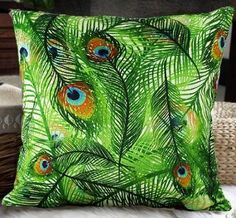 Elegant Decorative Throw Pillow Cover - Peacock Feathers Design on Both Sides - Soft Velvet Fabric - XH3: Home & Kitchen