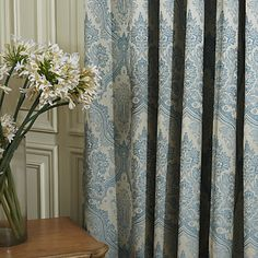 Grey blue curtains with pattern