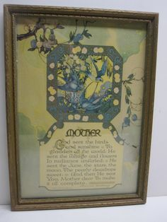 MOTHER MOTTO 1924 A BUZZA MOTTO -MPLS. U.S.A.FRAMED WITH GLASS BLUE BIRDS