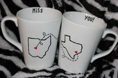 Long distance BFF coffee mugs. For Katelyn!