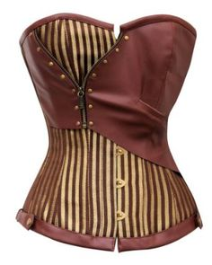 Brown and Gold Striped Overbust Steampunk Corset @ Corset Story. I think the Steampunk trend is going to start showing up in traditional fashion soon. Corset Steampunk, Costume Steampunk, Steampunk Outfits, Mode Steampunk, Style Steampunk, Victorian Steampunk, Steampunk Clothing, Steampunk Fashion, Gothic Fashion