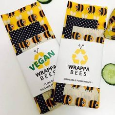Vegan Reusable Food Wraps Set of 3
