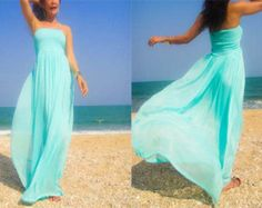 Bridesmaids Tiffany green Blue chiffon long maxi dress One size fits