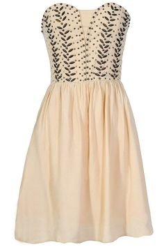 Antique Bronze Embellished Dress in Ivory
