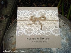 Wedding Invitation Square Rustic Lace and Hessian with Jute String on Recycled Kraft Card - SAMPLE