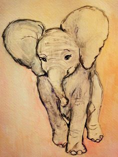 Pastel Pink Elephant  Original Painting Easy to by pinkflapper, $150.00