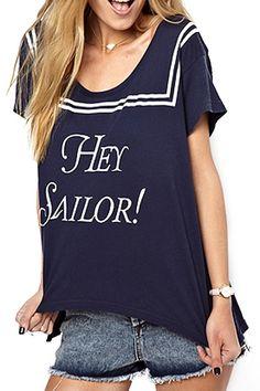 abaday Asymmetric Striped Hey Sailor Print Blue T-shirt - Fashion Clothing, Latest Street Fashion At Abaday.com