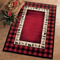 Buy all your rustic area rugs, cabin accent rugs and bear rugs at Black Forest Decor, your primary source for moose rugs and cabin rugs. Rustic Cabin Decor, Lodge Decor, Rustic Rugs, Country Decor, Rustic Cabins, Rustic Wood, Western Decor, Pine Tree Silhouette, Xmas